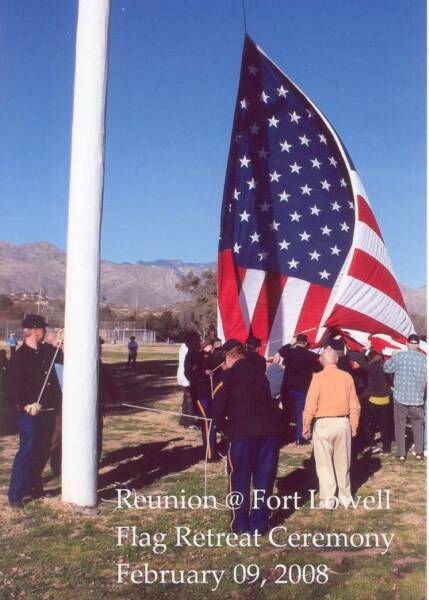 The Old Arizona troopers plus civilians of all ages & colors retrieve the garrison flag 02/09/08